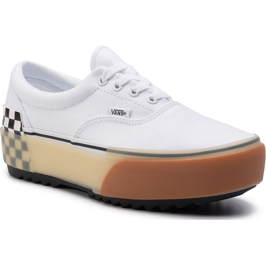 Trampki damskie Vans era białe z niską cholewką sznurowane płaskie w kratkę z gumy