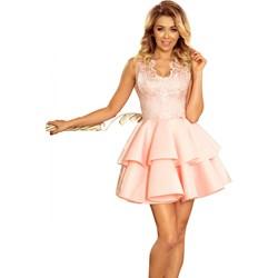 e7053d6a Sukienka różowa Numoco mini bez rękawów rozkloszowana