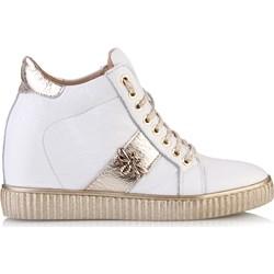 7b9f5837 Sneakersy damskie Arturo Vicci sznurowane na koturnie skórzane na wiosnę