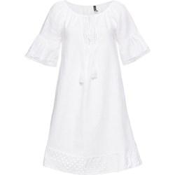 08838434 Sukienka biała Bonprix z lnu letnia mini bez wzorów casual z krótkimi  rękawami
