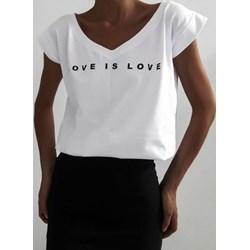 953b372446855e Bluzka damska z bawełny biała z dekoltem w literę v jesienna