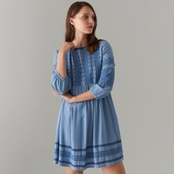 0d5eeaa15188ce Mohito sukienka z długim rękawem na wiosnę mini z okrągłym dekoltem z  haftem na co dzień