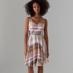 299b5faeb104d7 Wielokolorowa sukienka Mohito midi trapezowa casual