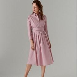 7ff21f1ddfa24a Sukienka Mohito z długimi rękawami różowa na uczelnię koszulowa z bawełny