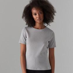 061540c2750ebb Szara bluzka damska Mohito z krótkim rękawem bez wzorów z okrągłym dekoltem  casualowa