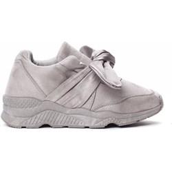 7c4cbf1d Sneakersy damskie Royalfashion.pl płaskie zamszowe sznurowane szare