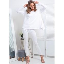 0e2580362c3c06 Bluzka damska biała Fimfi z długimi rękawami bez wzorów