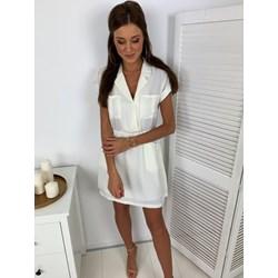 e097b955f72c35 Sukienka biała casual koszulowa z poliestru dzienna mini z krótkimi rękawami
