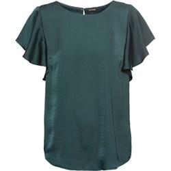 9b036cda2d6929 Bluzka damska zielona Bonprix z krótkimi rękawami bez wzorów z okrągłym  dekoltem