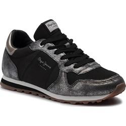 6e5f7eb2 Buty sportowe damskie Pepe Jeans czarne ze skóry ekologicznej sznurowane na  płaskiej podeszwie ...