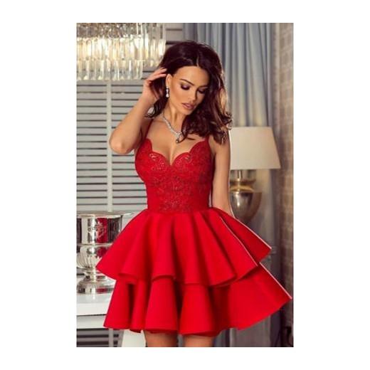 ea0f2fd8 Sukienka bez rękawów rozkloszowana koronkowa mini w serek elegancka