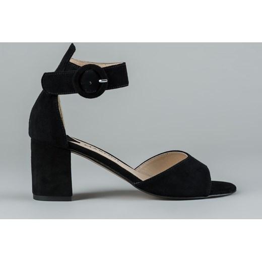 f515193c5b996b Sandały damskie czarne Maxoni z zamszu gładkie na słupku eleganckie na  średnim obcasie