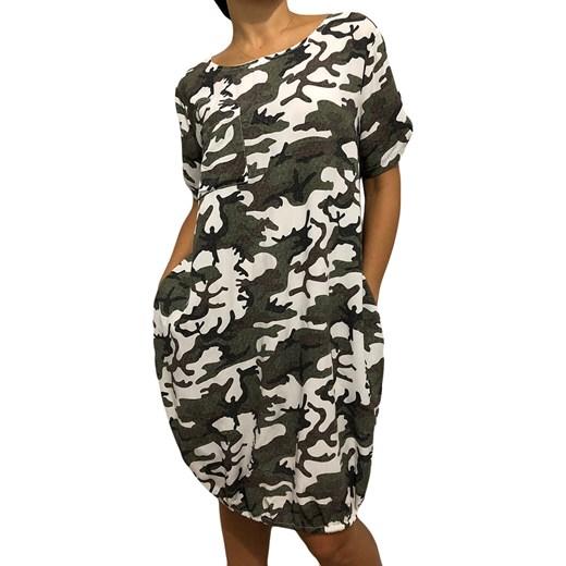 bcc059aa Sukienka Modnakiecka.pl moro w militarnym stylu na spacer z okrągłym  dekoltem