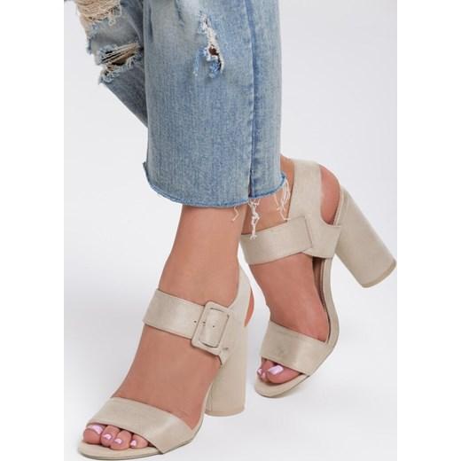 Sandały damskie Renee na słupku eleganckie letnie na wysokim obcasie bez wzorów z klamrą