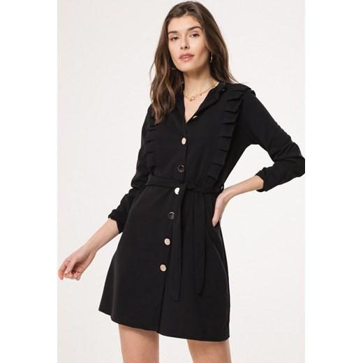 dd705971d8ff6a Sukienka Born2be z długimi rękawami czarna koszulowa z kołnierzykiem ...