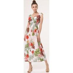 d3033626c7dc24 Born2be sukienka maxi wielokolorowa w serek na spacer bez rękawów kopertowa