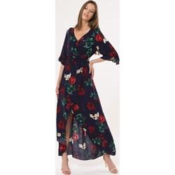 16e960c319a1c0 Sukienka Born2be maxi z długimi rękawami asymetryczna na spacer
