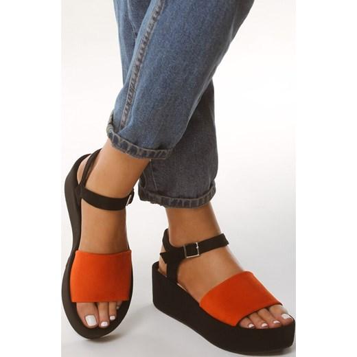 Sandały damskie pomarańczowe Born2be bez wzorów z klamrą casual Buty Damskie RG pomarańczowy Sandały damskie LHBW