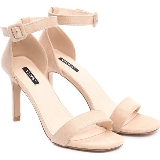 9633771b026b0c ... Beżowe sandały damskie Born2be gładkie eleganckie na szpilce z klamrą  ...