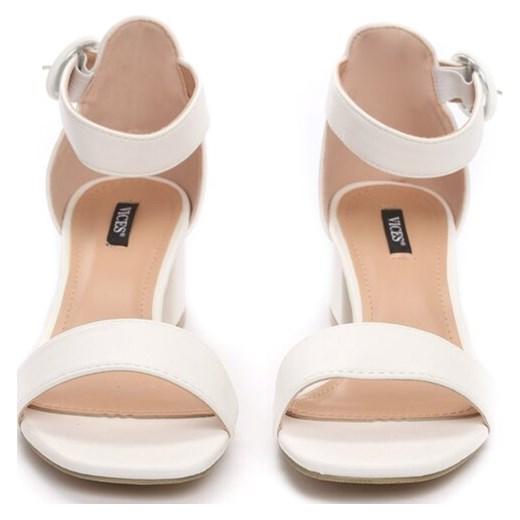 0d2056ae486f45 ... Białe sandały damskie Born2be na wysokim obcasie eleganckie na słupku  ...