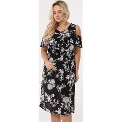 4a48d8da158 Sukienka czarna Born2be w kwiaty z krótkim rękawem midi
