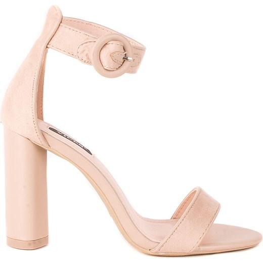 Sandały damskie eleganckie różowe na wysokim obcasie z klamrą Buty Damskie BZ różowy Sandały damskie YNPO