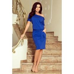 8d211074 Sukienka niebieska Numoco z dekoltem w łódkę na urodziny z krótkim rękawem