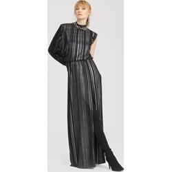 07c687ef Granatowa sukienka Renee elegancka z okrągłym dekoltem maxi bez wzorów bez  rękawów