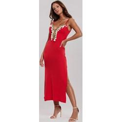 3949d50f Sukienka czerwona Renee midi z dekoltem w serek