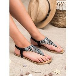 7199657b5056e3 Czarne płaskie sandały z diamentami Larissa bezowy gemre w Domodi