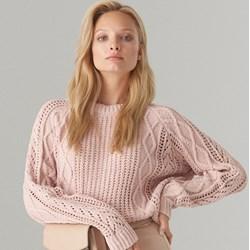 236a798347c496 Sweter damski różowy Mohito bez wzorów