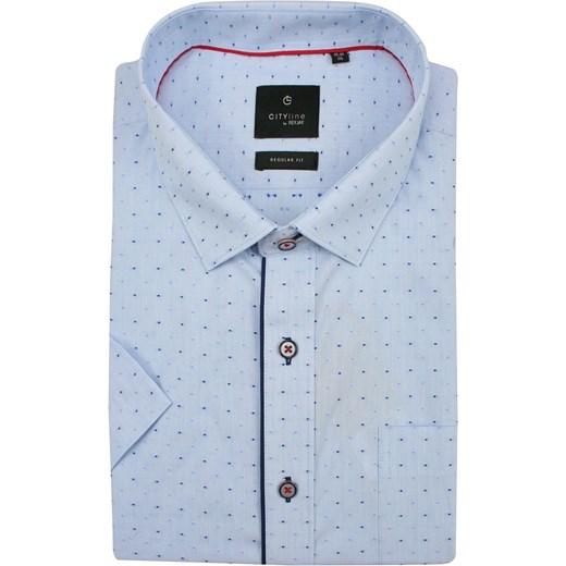 Koszula męska Rey Jay niebieska z krótkim rękawem w Domodi  RogjP