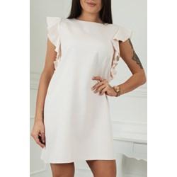 943f6fca La Vie sukienka biała bez wzorów z krótkim rękawem