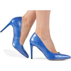 14be72203954f5 Czółenka niebieskie Brilu eleganckie ze szpiczastym noskiem bez zapięcia na  wysokim obcasie
