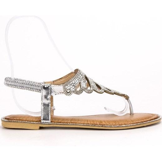 dobra jakość Srebrne sandały damskie Shelovet bez zapięcia z