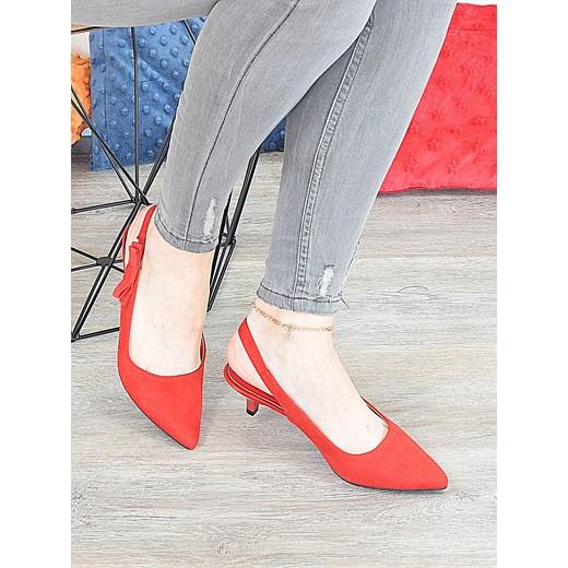 Sandały damskie czerwone bez wzorów eleganckie Buty Damskie ZX czerwony Sandały damskie LHIJ