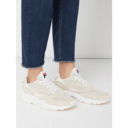 Sneakersy damskie beżowe Fila wiązane skórzane Buty Damskie