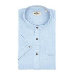 2ed448eeeb4f37 Koszula męska Montego z krótkim rękawem gładka ze stójką bawełniana