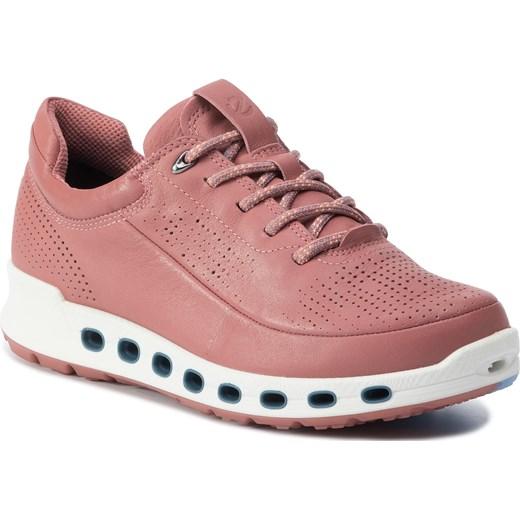 Sneakersy damskie Ecco rÓżowe sportowe wiązane bez wzorÓw