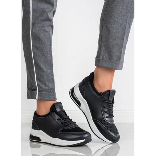Czarne buty sportowe damskie CzasNaButy na wiosnę Buty