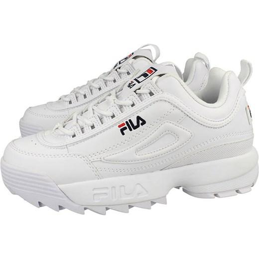 Sneakersy damskie Fila sportowe sznurowane białe bez wzorów