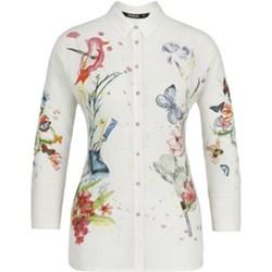 36a76fa470947e Koszula damska Desigual w abstrakcyjnym wzorze biała z kołnierzykiem