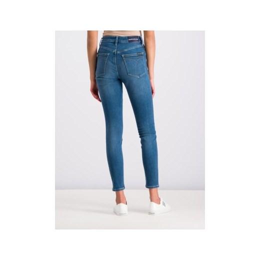 Jeansy damskie Calvin Klein bez wzorów w miejskim stylu Odzież Damska SQ niebieski Jeansy damskie AQIC tani