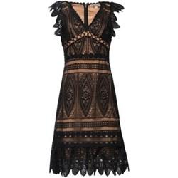 6168d89558258b Sukienka Michael Kors mini na wiosnę z dekoltem w serek koronkowa z krótkim  rękawem na sylwestra