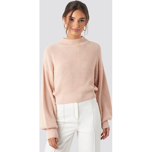 NA-KD Volume Sleeve High Neck Knitted Sweater - Pink  NA-KD L