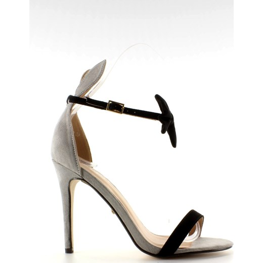 Buty Butymodne sandały damskie eleganckie bez wzorów na wysokim obcasie z klamrą ze skóry ekologicznej Buty Damskie FK szary Sandały damskie FIRG