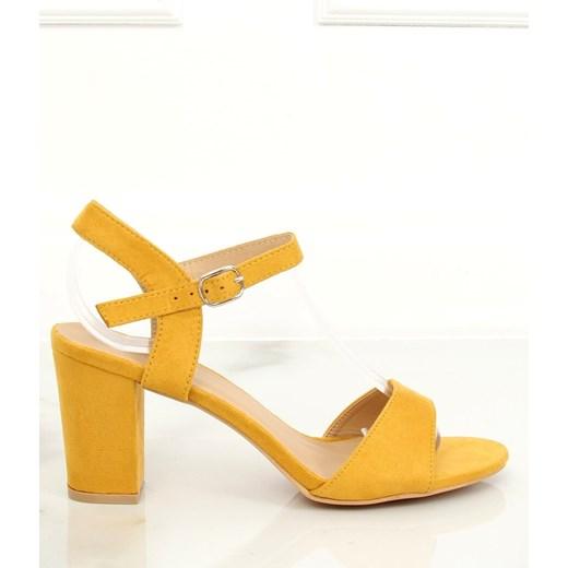 Żółte sandały damskie Butymodne na wysokim obcasie z klamrą na eleganckie bez wzorów Buty Damskie HI żółty Sandały damskie JRPX