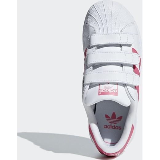 Białe trampki dziecięce Adidas Originals na wiosnę na rzepy