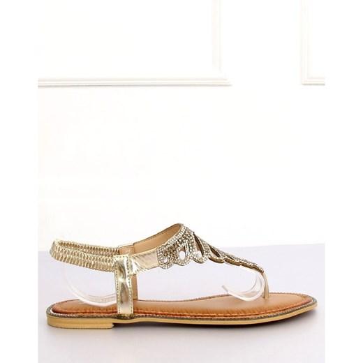 Butymodne sandały damskie casual ze skóry ekologicznej bez zapięcia Buty Damskie WK złoty Sandały damskie RKBL - Kliknij na obrazek aby go zamknąć