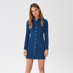 d3081be5 Sukienka House w miejskim stylu niebieska gładka z długim rękawem z jeansu  na uczelnię